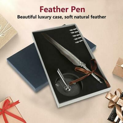 Quill Feather Dip Pen Metal Nibs Calligraphy Writing Pen Gift Box Set Gray