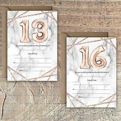 Birthday Invitations Blank Rose Gold/Marble Effect Balloon 13Th 16Th Packs Of 10