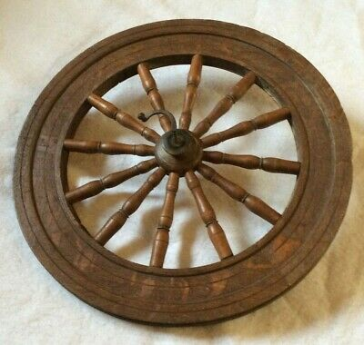 """Antique 20"""" Diameter Wooden Wheel (Spinning) 12 spoke spindle Wall Decor - EXC"""