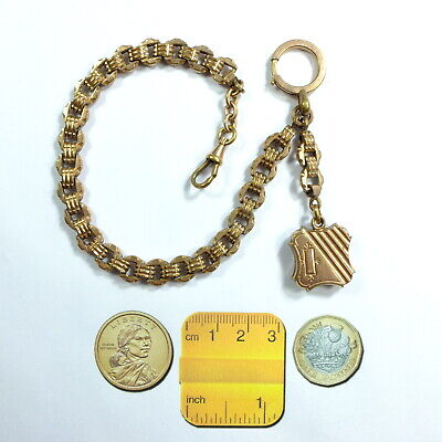 Antique Victorian Rose Rolled Gold Ornate French Pocket Watch Chain,Fob,Dog Clip