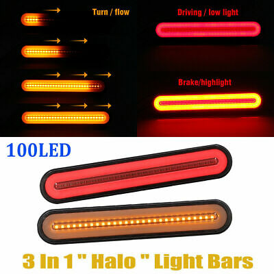 1 Pair 24V Led Rear Tail Lights Lamp 4 Function Trailer Caravan Truck Lorry Uk