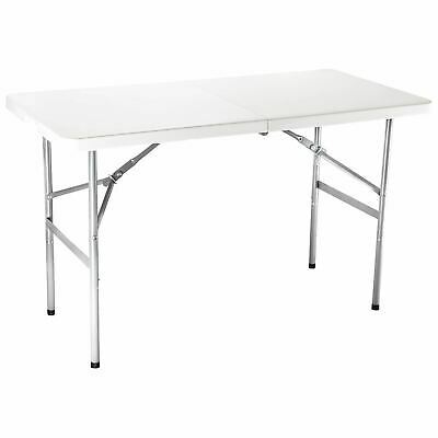 4FT Portable Folding White Trestle Table Heavy Duty Plastic Camping Garden Party