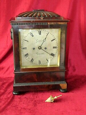 English Regency Mahogany Double Fusee Bracket Clock