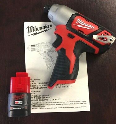 "NEW Milwaukee 2462-20 M12 12V Li-Ion 1/4"" Cordless Impact Driver & One Battery"