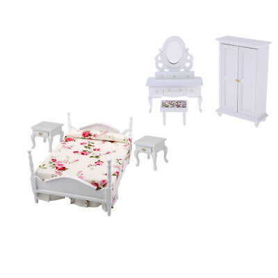 """0002121 1:24 or 1//2/"""" Scale Double Bed Dollhouse Miniature Furniture Kit"""