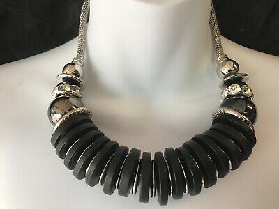 Capiz Unique Hand Crafted Large Silver Black Discs Diamante Snake Chain Necklace