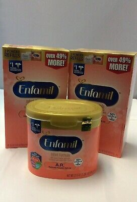 ENFAMIL INFANT POWDER FORMULA A.R. 2- Refill Boxes, 1- 21.5 tub. New!