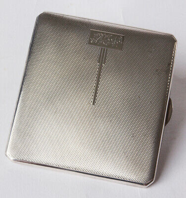 Art Deco Sterling Silver Engine Turned Card Case, Birmingham 1934, 81g