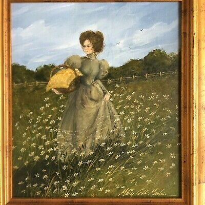 Vtg Oil Painting on Canvas Mary Cobb Martin Wall Art Victorian Woman In Field