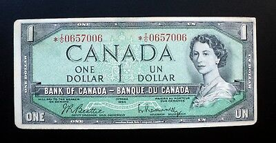 1954 BANK OF CANADA $1 Dollar Replacement Note *I/O 0657006 BC-37bA