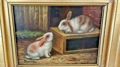 Bunny Rabbits in Barn Scene Oil Painting in French Country Gold Frame 12 x 10.5""