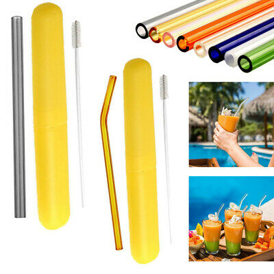 6PCS Set Reusable Straight Pyrex Glass Drinking Straw + 2pcs Cleaning Brushes