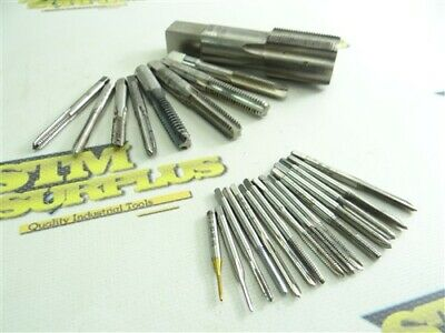 """24Pc Assorted Hss Taps #0-80Nf To 1-1/8""""-18Nef Widell Baystate Morse R&N Ub W&S"""