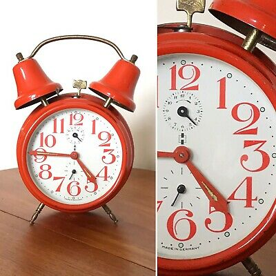 RARE RETRO VINTAGE 1960s ADOLF JERGER KG GERMAN ORANGE ALARM CLOCK w BELLS