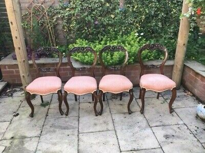 Stunning set of 4 Victorian chairs with cabriole  legs -must see