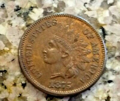 Rare 1875 U.s Indian Head Penny Clear Sharp High Grade Details Rb *Red Color N/R