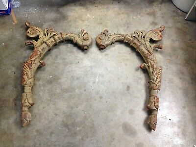 "2 Antique STREET LIGHT TOP POLE MOUNTS HEAVY CAST IRON 46""-architectural salvage"