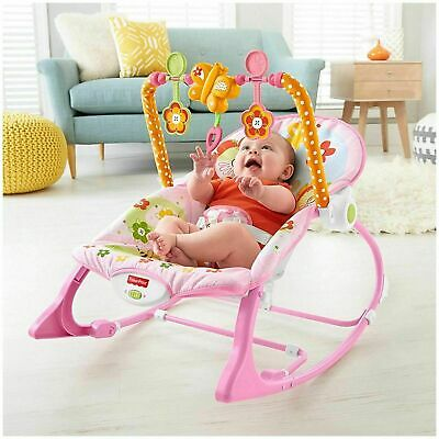 Fisher-Price Infant To Toddler Rocker Pink Fun Bouncers Vibrating Chairs Baby