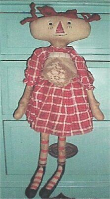 PATTERN Primitive Raggedy Ann Doll Lace Apron UNCUT OOP Raggedy Old Annies RARE