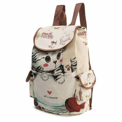 Kawaii Cute Cartoon Kitty Cat Women's Backpack Large Durable Canvas Travel Bag