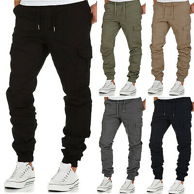 Mens Cargo Combat Work Trousers Elasticated Waist Jogger Bottoms Jogging Pants
