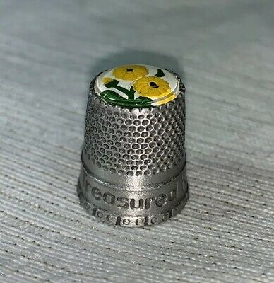 Vintage Treasured Keepsake Pewter Thimble Yellow Flower Floral - S3