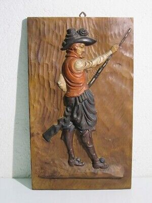 Vintage Panel Painting Ornament Wall with Soldier Spanish Period Xx Century