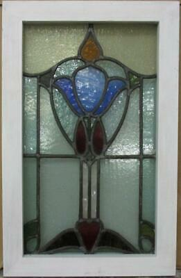 "MIDSIZE OLD ENGLISH LEADED STAINED GLASS WINDOW Abstract & Heart 15.5"" x 24.25"""