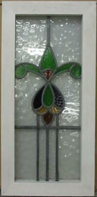 "MIDSIZE OLD ENGLISH LEADED STAINED GLASS WINDOW Colorful Abstract 12.5"" x 25.5"""