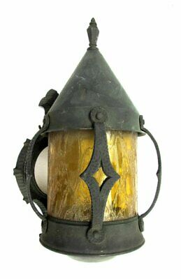 Vintage Antique Rustic Cast Metal Gothic Medieval Witch Hat Wall Sconce Light