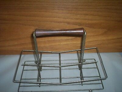 """Vintage Metal Water Glass Carrier Rack : Holds 8 Glasses : (12"""" long x 6"""" Wide)"""