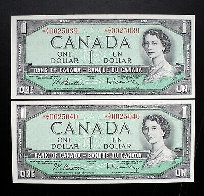1954 Bank Of Canada 1$ Dollar Consecutive Pair Replacement *A/Y Prefix BC-37bA