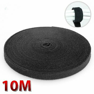 10M Nylon Cable Manager Winder Cable Clip Ties Belting Velcro Strap Velcro Black
