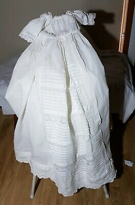 Exquisite Antique Christening Gown White Lace Doll Baby Display