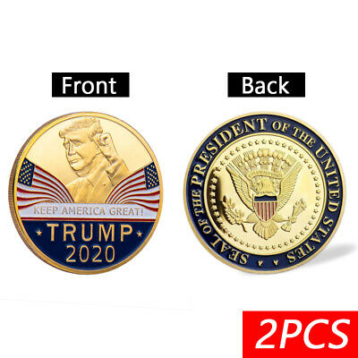 2PCS 2020 President Donald Trump KEEP AMERICA GREAT Plated EAGLE Coins AU