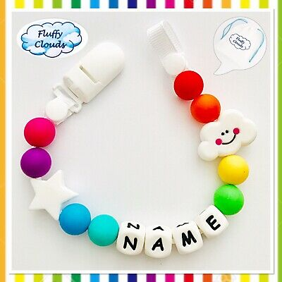 Personalized Dummy Clip Silicon Bead Pacifier Holder Baby Boys Girls ~BPA free🌈