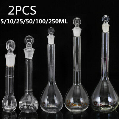 2X 5-250ML Borosilicate Flask Glass Measuring Flask Beakers Science With Stopper
