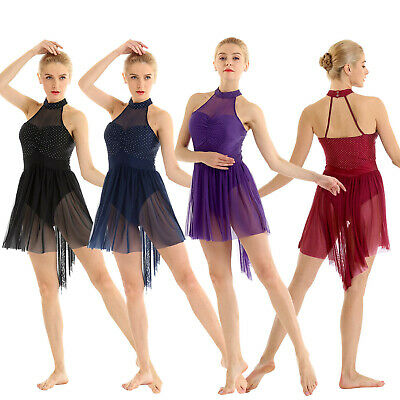 Women's Halter Lyrical Contemporary High Low Dance Dress Ballet Skating Costumes