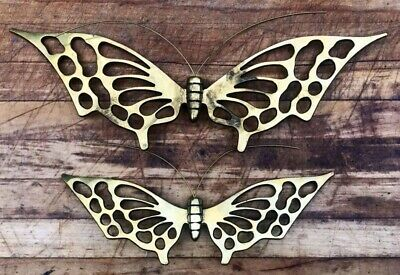 Butterfly Garden Decorations Brass Set Of 2 Mid Century Butterflies Wall Art Vtg
