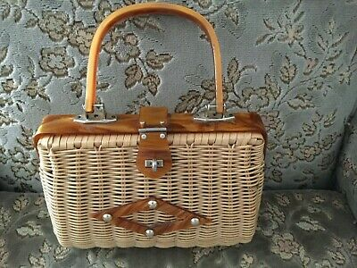 Genuine Vintage Rattan/Straw Handbag with Lucite Hardware Ex Condition for Age