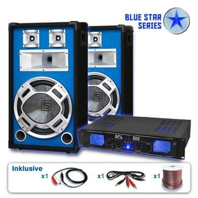 "Impianto Set Casse Subwoofer Dj 12"" Amplificatore 1600W Feste Party"