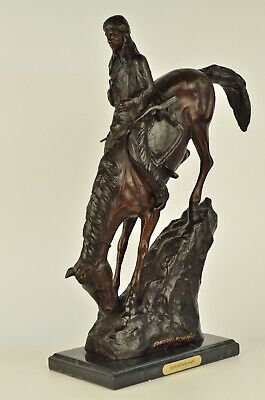 American Handmade Bronze Sculpture Mountain Man by F.Remington - Regular Size