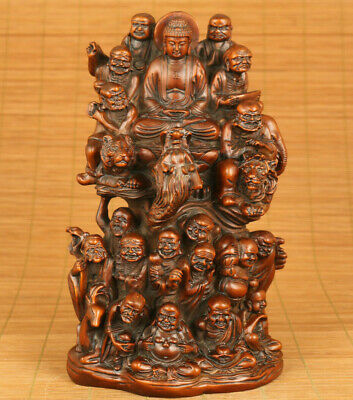 Rare chinese old boxwood hand carved eighteen arhats statue netsuke decoration