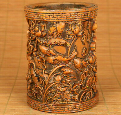 Chinese old boxwood hand carved propitious flower fish brush pot netsuke gift
