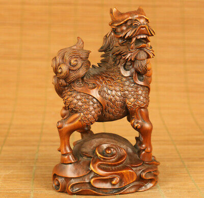 Antiques China old boxwood hand carved fortune Kylin statue collect decoration