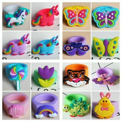 50pcs Children Mixed PVC Soft Rubber Finger Silicone Unicorn Aniaml Candy Rings
