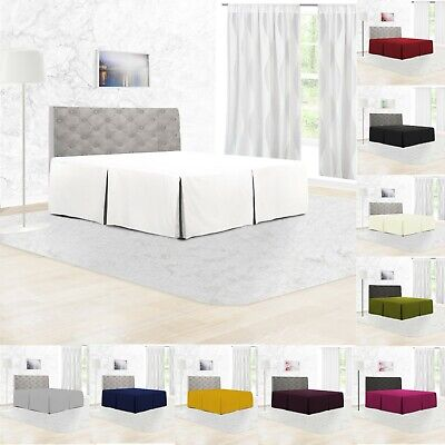 100% Poly Cotton Plain Dyed Platform Base Valance Box Pleated Sheet All Sizes