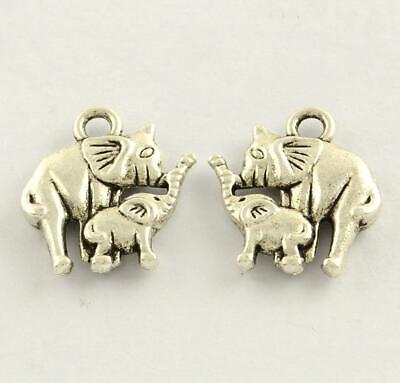 15 ELEPHANT & BABY CHARMS PENDANTS 15mm TIBETAN SILVER DOUBLE SIDED C200