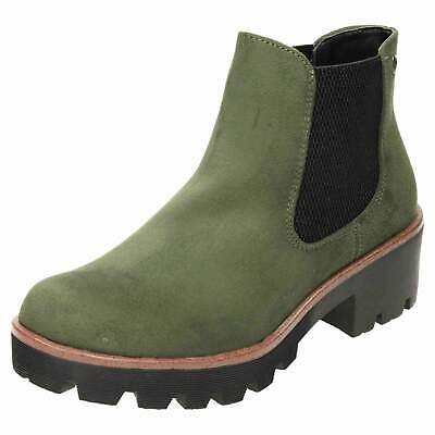 14c8e59e1 Rieker Chunky Chelsea Green Suede Ankle Boots 99284-54 Flat Shoes Pull On  Warm