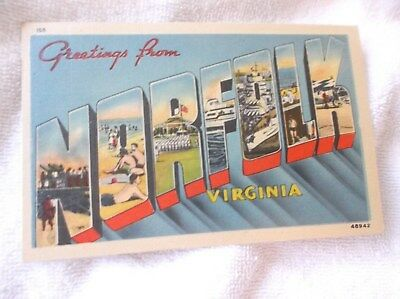 NORFOLK VIRGINIA-1940's-GREETINGS FROM LARGE LETTERS-color  postcard
